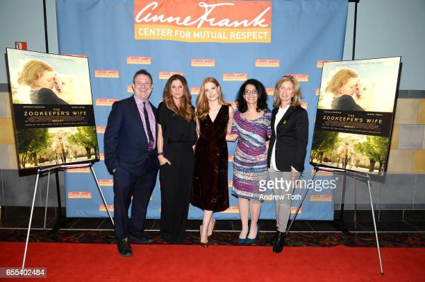 Steven Goldstein Niki Caro Jessica Chastain Angela Workman and Sarah O'Hagan attend The Zookeeper's Wife special screening at Regal Union Square on...