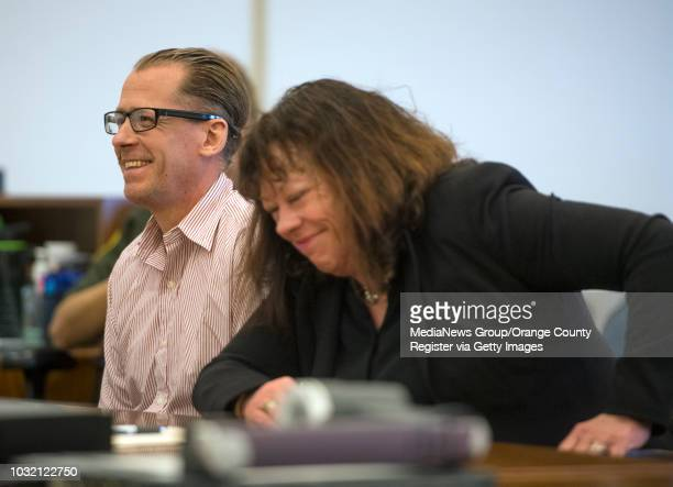 Steven Gordon left and his advisor Denise Bragg share a laugh during his sentencing for the murders of Kianna Jackson 20 Josephine Vargas 34 Martha...