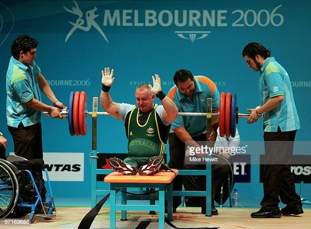 Steven Green of Australia competes in the Men's Open EAD Powerlifting Final at the Melbourne Exhibition Centre during day nine of the Melbourne 2006...
