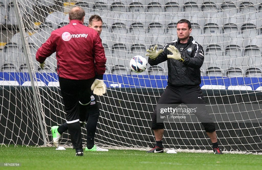 Steven Harper during a Newcastle United training session at St James' Park on April 25, in Newcastle upon Tyne, England.