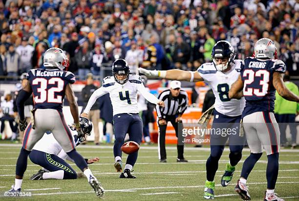 Steven Hauschka of the Seattle Seahawks has an extra point blocked during the second quarter of a game against the New England Patriots at Gillette...