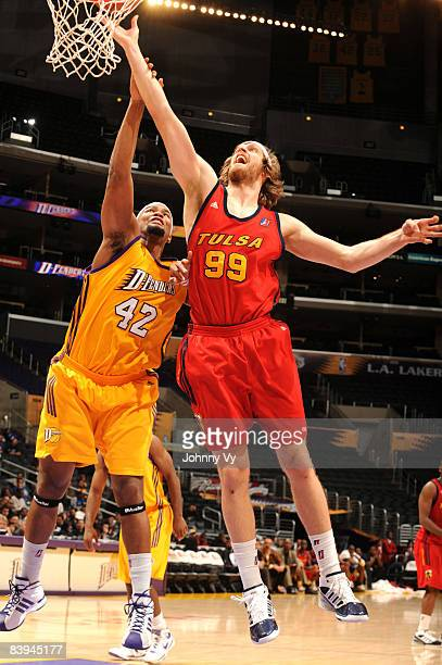 Steven Hill of the Tulsa 66ers attempts a shot against the defense of Jamaal Brown of the Los Angeles DFenders at Staples Center on December 7 2008...