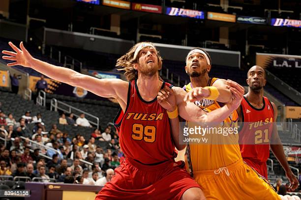Steven Hill of the Tulsa 66ers boxes out against Rashid Byrd of the Los Angeles DFenders at Staples Center on December 7 2008 in Los Angeles...