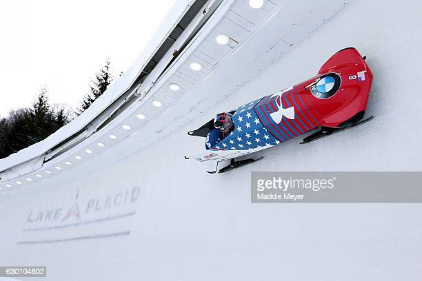 Steven Holcomb and Carlo Valdes of the United States complete their first run in the 2man Bobsleigh event during day 1 of the 2017 IBSF World Cup...