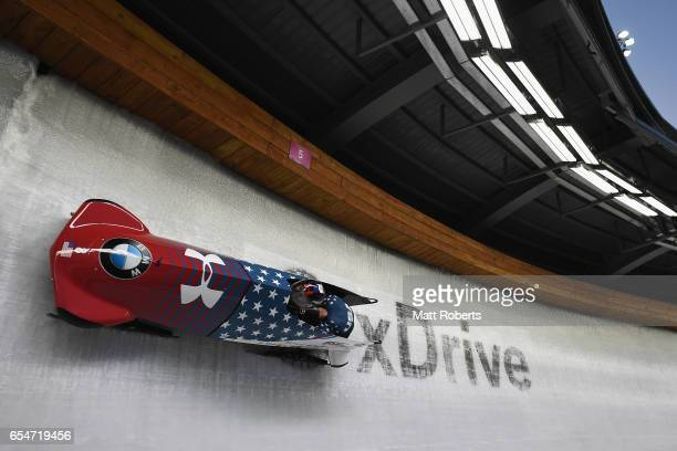 Steven Holcomb and Carlo Valdes of the USA compete in the 2man Bobsleigh during the BMW IBSF World Cup Bob Skeleton PyeongChang Presented by JIN AIR...