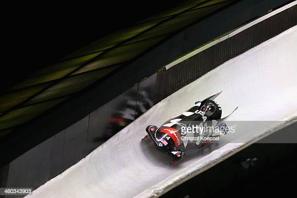 Steven Holcomb and Steven Langton of United States compete in their second run of the two man bob competition during the FIBT Bob & Skeleton World...