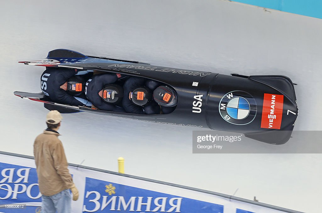 Steven Holcomb drives USA 1 sled to a second place finish in the FIBT Men's Four Man Bobsled World Cup Heat 1 at Utah Olympic Park on November 17, 2012 in Park City, Utah.