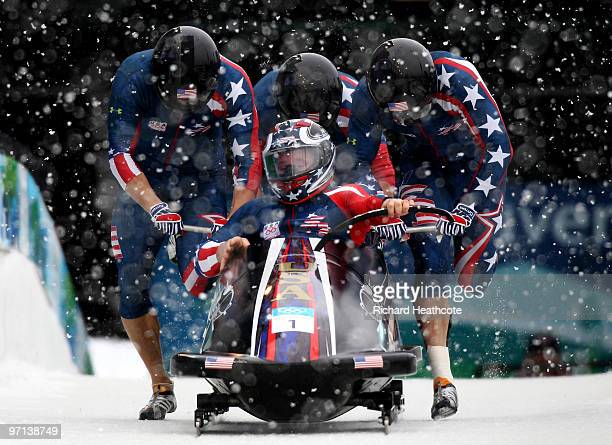 Steven Holcomb Justin Olsen Steve Mesler and Curtis Tomasevicz of the United States compete in USA 1 during the fourman bobsleigh on day 15 of the...