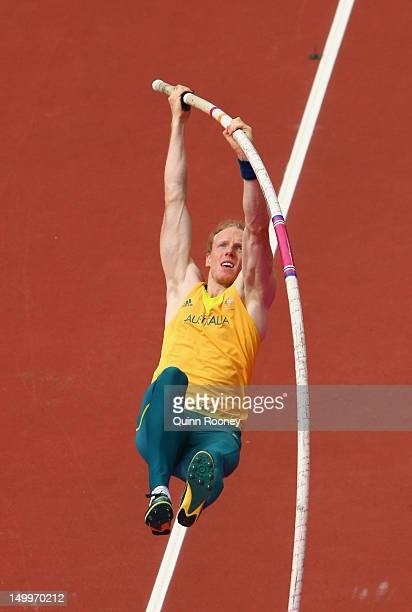 Steven Hooker of Australia competes in the Men's Pole Vault Qualifications on Day 12 of the London 2012 Olympic Games at Olympic Stadium on August 8...
