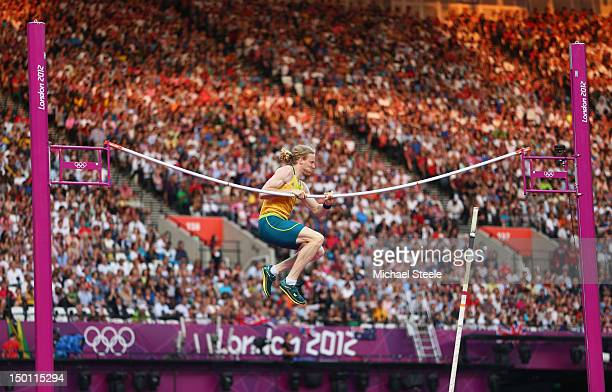 Steven Hooker of Australia fails at an attempt during the Men's Pole Vault Final on Day 14 of the London 2012 Olympic Games at Olympic Stadium on...