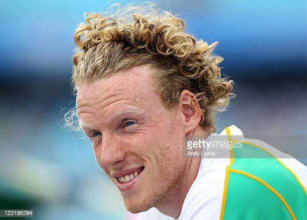 Steven Hooker of Australia looks on during the men's pole vault qualification round during day one of the 13th IAAF World Athletics Championships at...