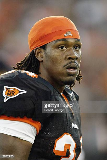 Steven Jackson of the Oregon State Beavers looks on during warm up before the game against the Arizona State Sun Devils on September 27 2003 at Reser...
