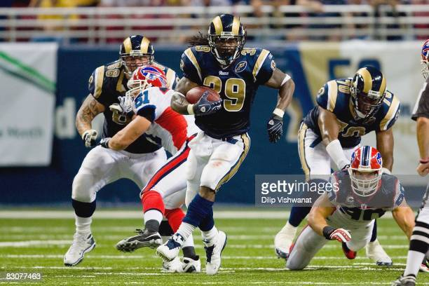 Steven Jackson of the St Louis Rams carries the ball during the game against the Buffalo Bills at the Edward Jones Dome on September 28 2008 in St...