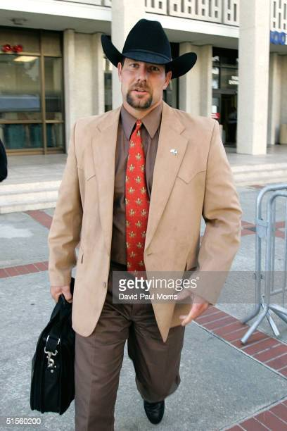 Steven Jacobson the wire tap supervisor from the Stanislaus County Drug Enforcement Unit leaves leave the San Mateo County Courthouse October 25 2004...