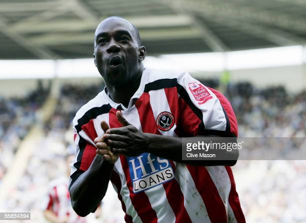 Steven Kabba of Sheffield United celebrates scoring during the Coca Cola Championship match between Reading and Sheffield United at the Madjeski...