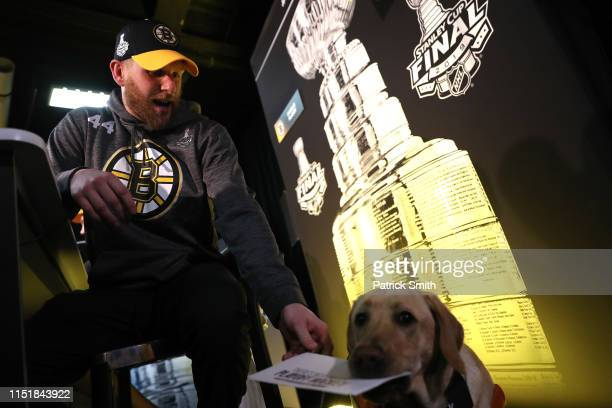 Steven Kampfer of the Boston Bruins answers questions from a dog during Media Day ahead of the 2019 NHL Stanley Cup Final at TD Garden on May 26 2019...
