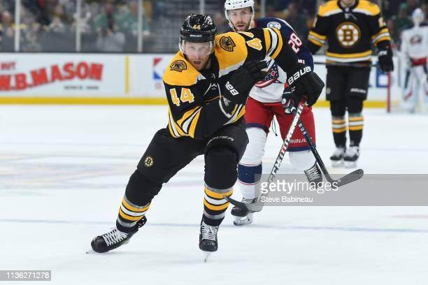 Steven Kampfer of the Boston Bruins skates against the Columbus Blue Jackets at the TD Garden on March 16 2019 in Boston Massachusetts
