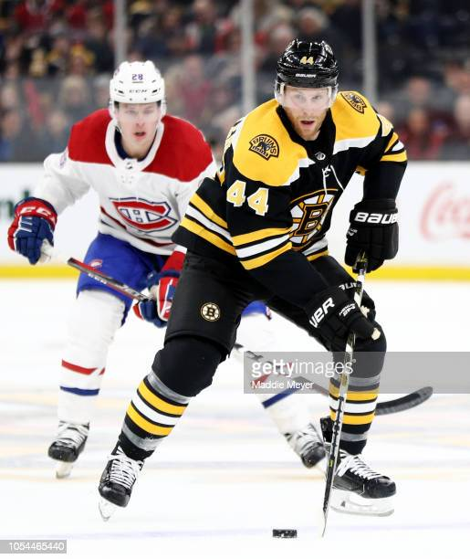 Steven Kampfer of the Boston Bruins skates against the Montreal Canadiens during the third period at TD Garden on October 27 2018 in Boston...