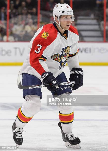 Steven Kampfer of the Florida Panthers plays in the game against the Ottawa Senators at Canadian Tire Centre on April 7 2016 in Ottawa Ontario Canada