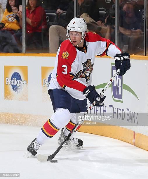 Steven Kampfer of the Florida Panthers skates against the Nashville Predators during an NHL game at Bridgestone Arena on December 3 2015 in Nashville...