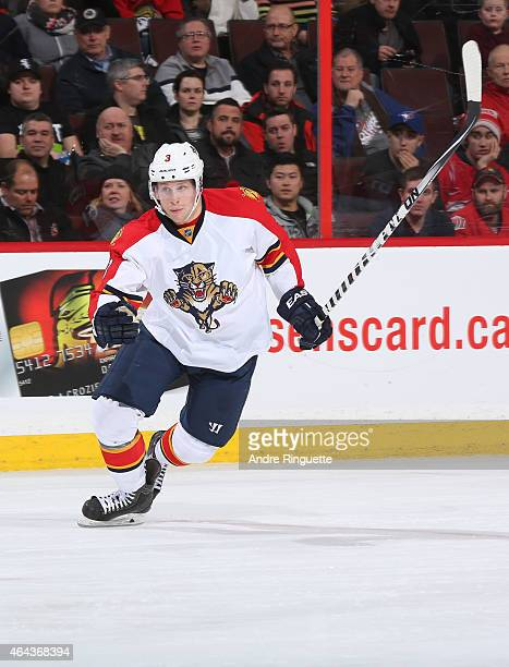 Steven Kampfer of the Florida Panthers skates against the Ottawa Senators at Canadian Tire Centre on February 21 2015 in Ottawa Ontario Canada