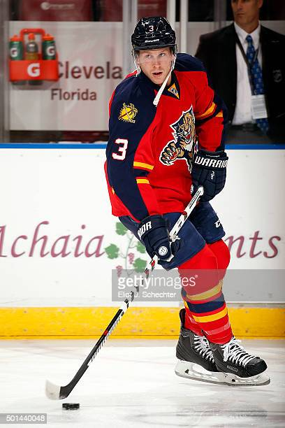 Steven Kampfer of the Florida Panthers skates on the ice prior to the start of the game against the Ottawa Senators at the BBT Center on December 8...