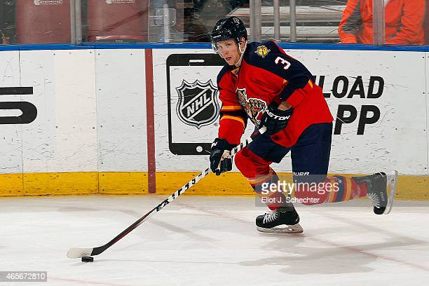 Steven Kampfer of the Florida Panthers skates with the puck against the New York Islanders at the BBT Center on March 7 2015 in Sunrise Florida