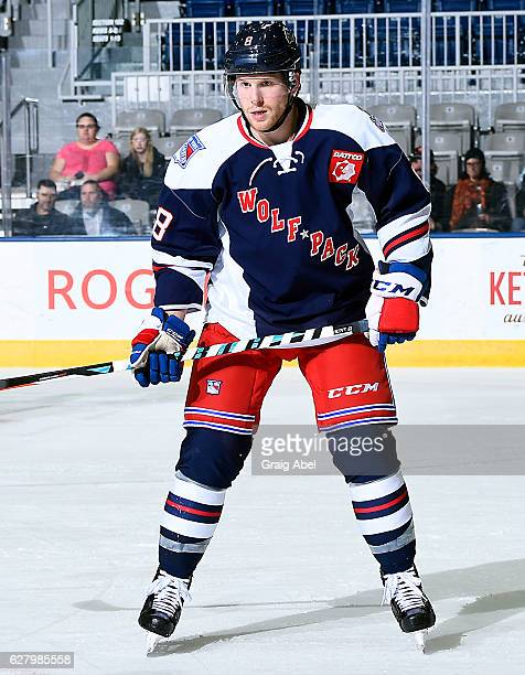 Steven Kampfer of the Hartford Wolf Pack watches the play against the Toronto Marlies during AHL game action on December 3 2016 at Ricoh Coliseum in...