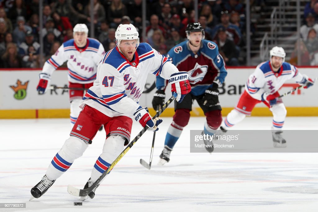 Steven Kampfer #47 of the New York Rangers brings the puck down the ice against the Colorado Avalanche at the Pepsi Center on January 20, 2018 in Denver, Colorado.