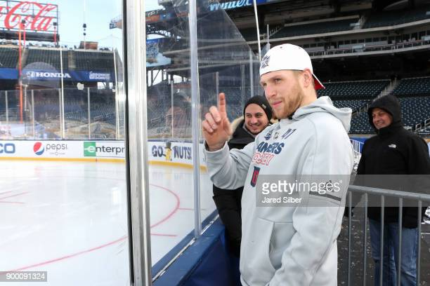 Steven Kampfer of the New York Rangers looks on during practice for the 2018 Bridgestone NHL Winter Classic at Citi Field on December 31 2017 in...