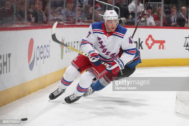 Steven Kampfer of the New York Rangers skates against the Colorado Avalanche at the Pepsi Center on January 20 2018 in Denver Colorado
