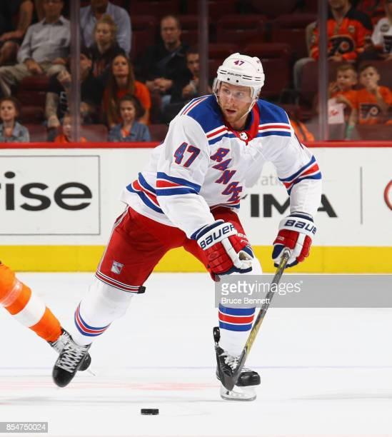 Steven Kampfer of the New York Rangers skates against the Philadelphia Flyers during a preseason game at the Wells Fargo Center on September 26 2017...