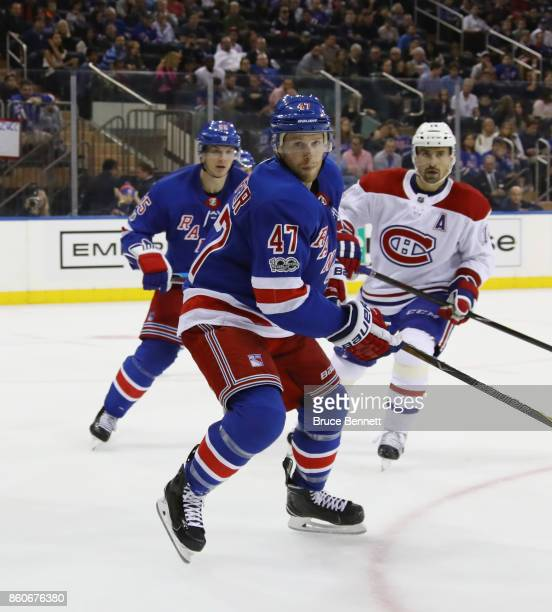 Steven Kampfer of the New York Rangers skates against the Montreal Canadiens at Madison Square Garden on October 8 2017 in New York City The Rangers...