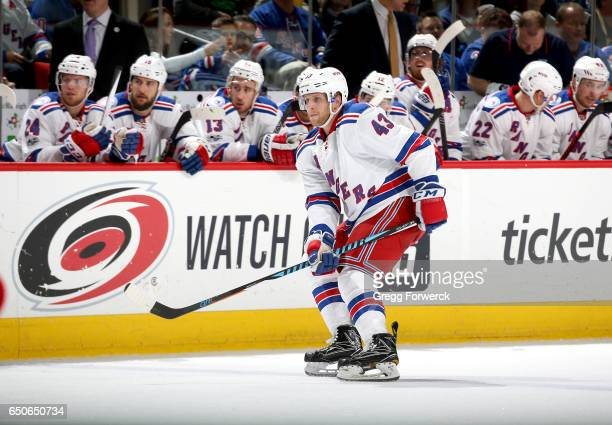 Steven Kampfer of the New York Rangers skates for position during an NHL game against the Carolina Hurricanes on March 9 2017 at PNC Arena in Raleigh...
