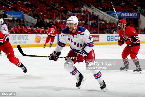 Steven Kampfer of the New York Rangers skates for position on the ice during an NHL game against the Carolina Hurricanes on November 22 2017 at PNC...