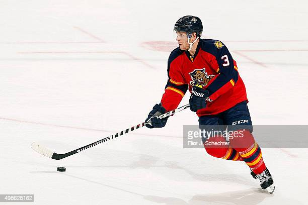 Steven Kampfer skates with the puck against the Anaheim Ducks at the BBT Center on November 19 2015 in Sunrise Florida