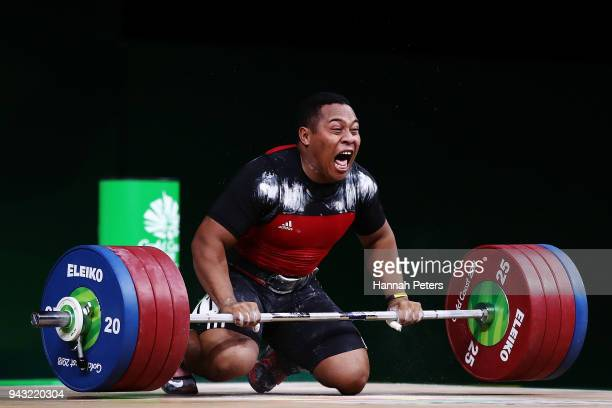 Steven Kari of Papua New Guinea celebrates winning gold in the Men's 94kg final Weightlifting on day four of the Gold Coast 2018 Commonwealth Games...