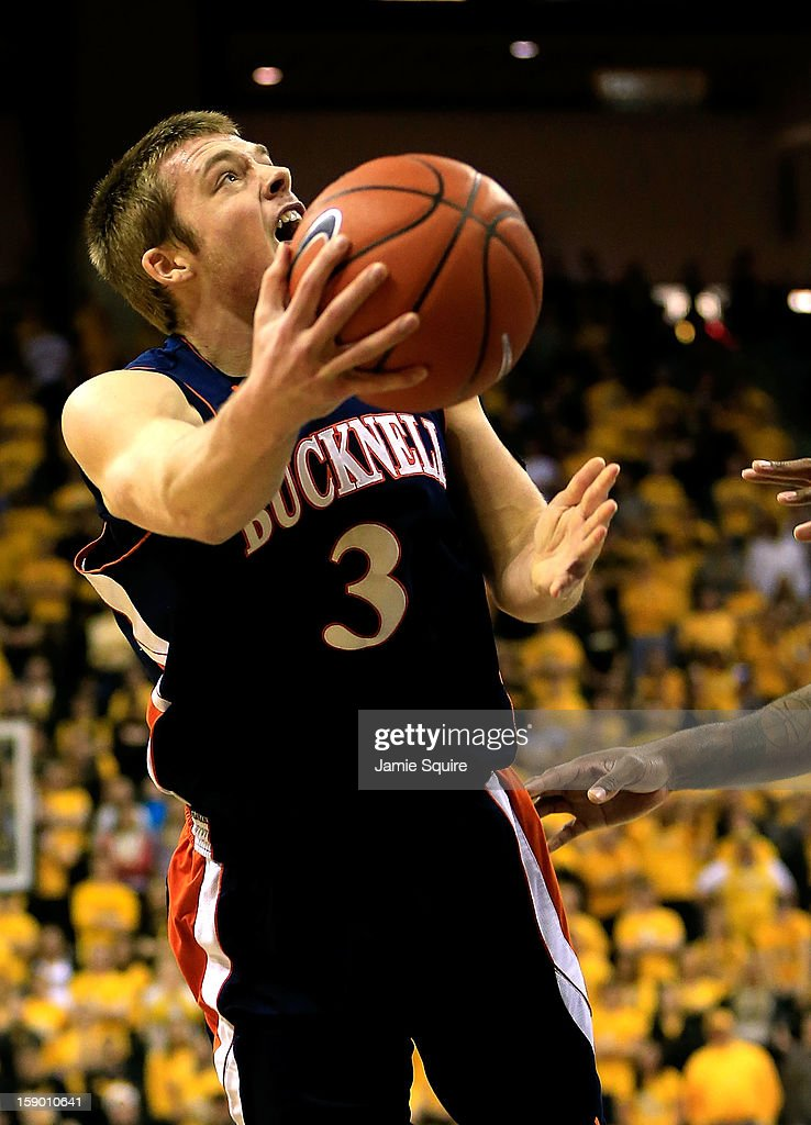 Steven Kaspar #3 of the Bucknell Bison drives during the game against the Missouri Tigers at Mizzou Arena on January 5, 2013 in Columbia, Missouri.