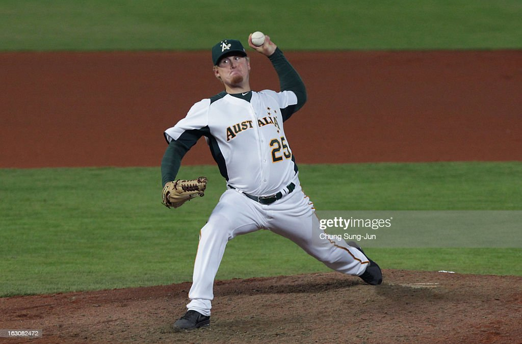 Steven Kent of Australia pitches in the fourth inning during the World Baseball Classic First Round Group B match between South Korea and Australia at Intercontinental Baseball Stadium on March 4, 2013 in Taichung, Taiwan.