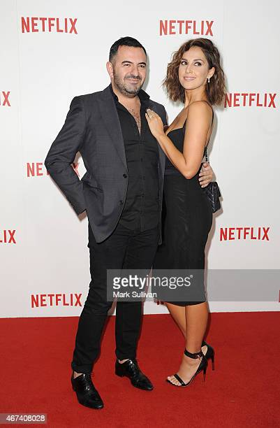 Steven Khalil and Zoe Marshall arrive for the Netflix Australia New Zealand launch party at Museum of Contemporary Art on March 24 2015 in Sydney...