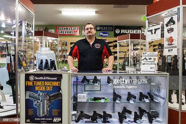 Steven King the owner of Metro Shooting Supplies is seen on November 16 2014 in Bridgeton Missouri as the gun shop near Ferguson sees increase in...