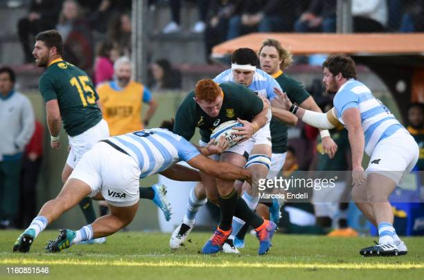 Steven Kitshoff of South Africa is tackled by Facundo Isa of Argentina during a match between Argentina and South Africa as part of The Rugby...
