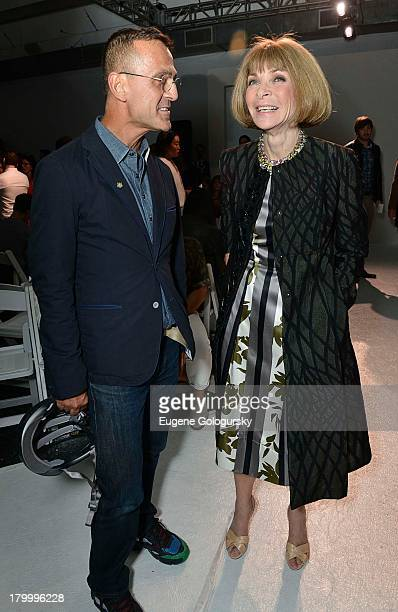 Steven Kolb and Anna Wintour attends the Altuzarra show during Spring 2014 MercedesBenz Fashion Week at Industria Superstudio on September 7 2013 in...