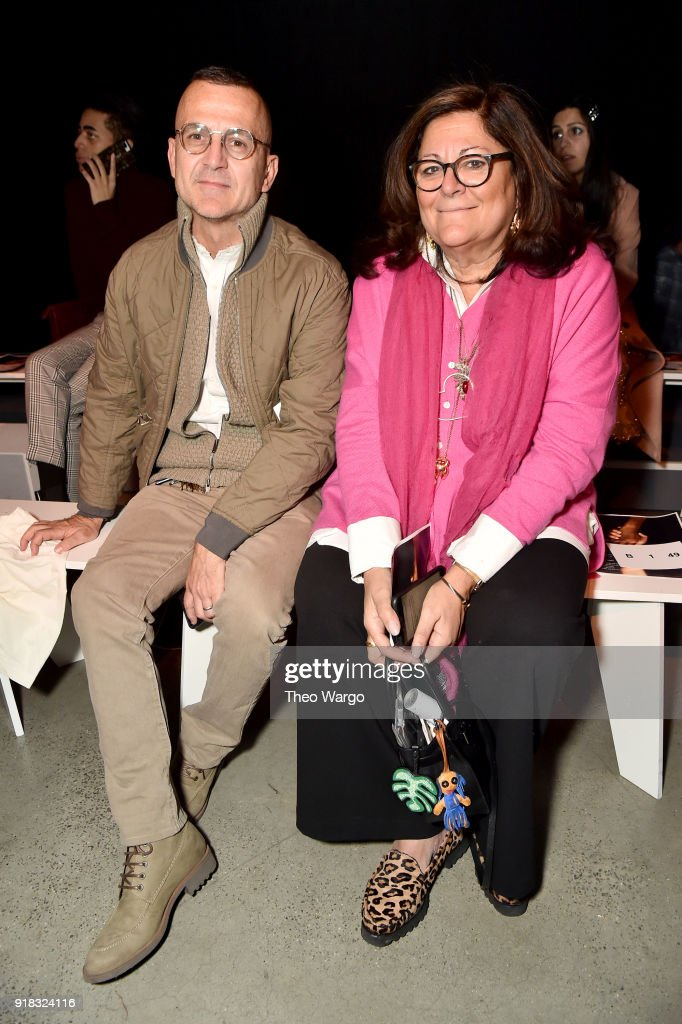 Steven Kolb and Fern Mallis attends the Esteban Cortazar front row during New York Fashion Week: The Shows at Gallery I at Spring Studios on February 14, 2018 in New York City.
