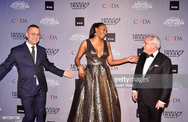 Steven Kolb President and CEO CFDA actor Cynthia Bailey and Rick Helfenbein President and CEO AAFA attend American Apparel Footwear Association's...