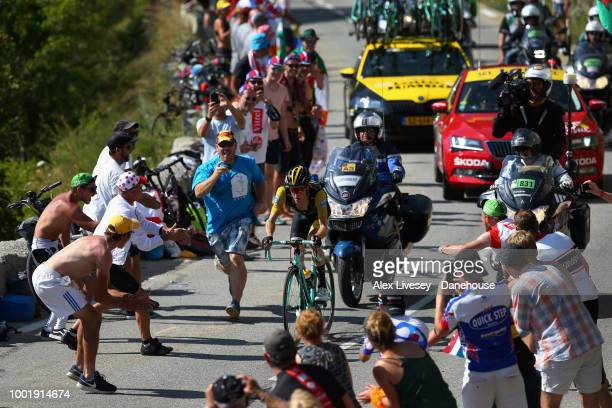 Steven Kruijswijk of Netherlands and LottoNL–Jumbo climbs up Alpe d'Huez during Stage 12 a 1755km stage from BourgSaintMaurice Les Arcs to Alpe...