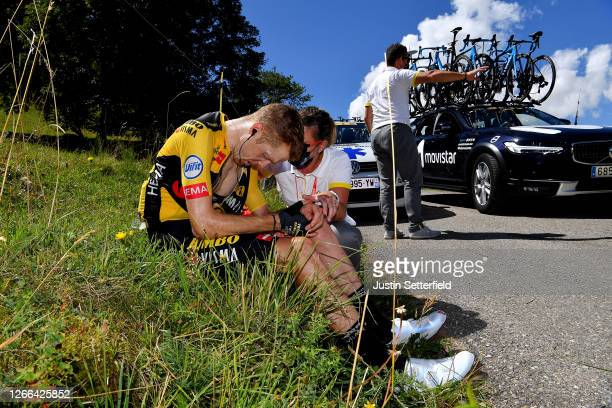 Steven Kruijswijk of The Netherlands and Team Jumbo - Visma / Crash / Injury / Doctor / during the 72nd Criterium du Dauphine 2020, Stage 4 a 153,3km...