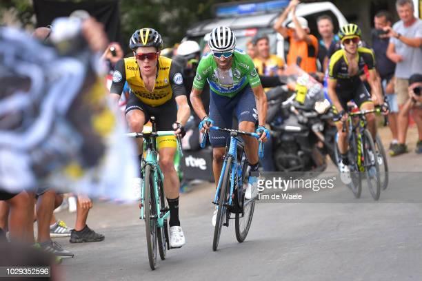 Steven Kruijswijk of The Netherlands and Team LottoNL - Jumbo / Alejandro Valverde of Spain and Movistar Team Green Points Jersey / Simon Yates of...