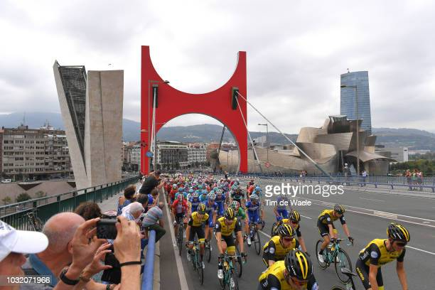 Steven Kruijswijk of The Netherlands and Team LottoNL Jumbo / Guggenheim Museum / Bilbao City / Peloton / Landscape / Bridge / Fans / Public / during...