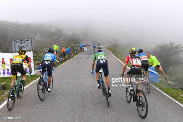 Steven Kruijswijk of The Netherlands and Team LottoNL Jumbo / Nairo Quintana of Colombia and Movistar Team / Alejandro Valverde of Spain and Movistar...